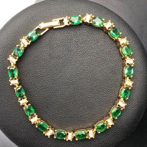 Avon Green Clear Rhinestone Bracelet 1970s Vintage